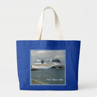 Smiling Ship Personalized blue Large Tote Bag
