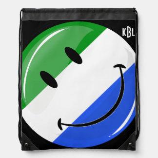 Smiling Sierra Leone Flag Drawstring Bag