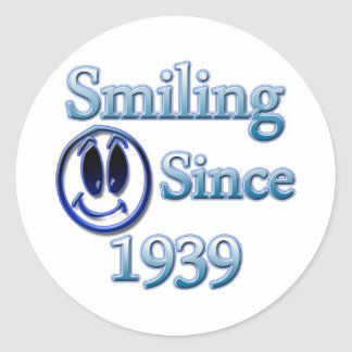 Smiling Since 1939 Classic Round Sticker