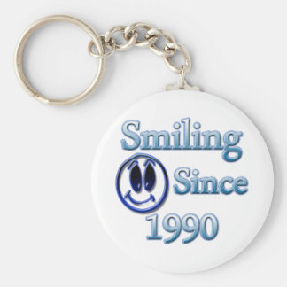 Smiling Since 1990 Basic Round Button Keychain