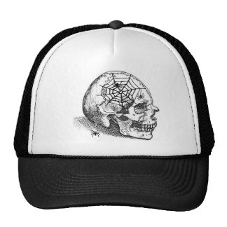 SMILING SKULL and SPIDERS VINTAGE PRINT Trucker Hats