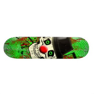 Smiling Skull,Clowns Red Nose,Black Hat Skateboard