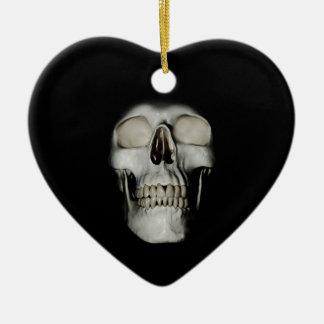 Smiling Skull emerging Double-Sided Heart Ceramic Christmas Ornament
