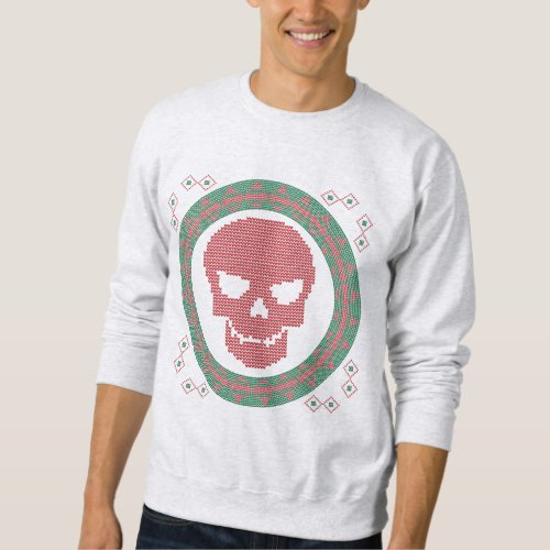 Smiling Skull Head Ugly Christmas Sweater After Christmas Sales 2369