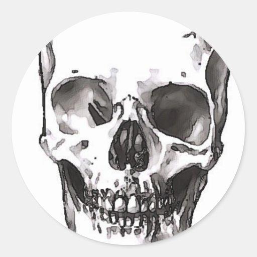 Smiling Skull Round Sticker