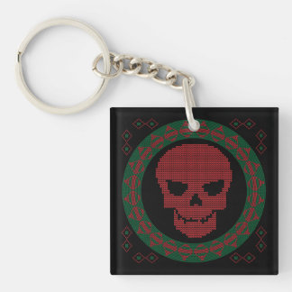 Smiling Skull Ugly Holiday Sweater Christmas Keychain