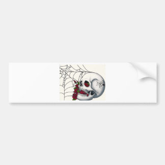 Smiling Skull with Red Roses and Spiderweb Bumper Sticker