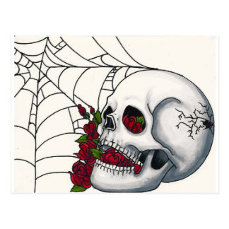 Smiling Skull with Red Roses and Spiderweb Postcard
