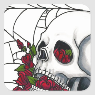 Smiling Skull with Red Roses and Spiderweb Square Sticker