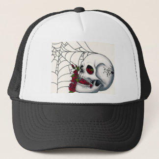 Smiling Skull with Red Roses and Spiderweb Trucker Hat