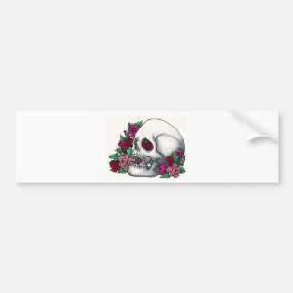 Smiling Skull with Roses, in Red, Pink and Peach Bumper Sticker