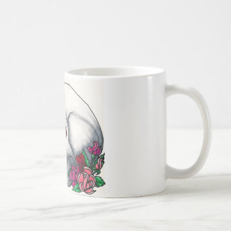 Smiling Skull with Roses, in Red, Pink and Peach Coffee Mug