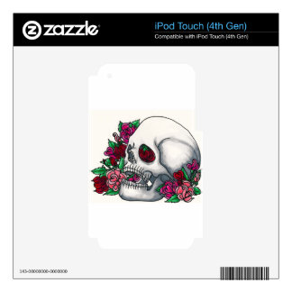 Smiling Skull with Roses in Red Pink and Peach iPod Touch 4G Skins