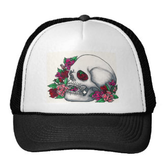 Smiling Skull with Roses, in Red, Pink and Peach Trucker Hat