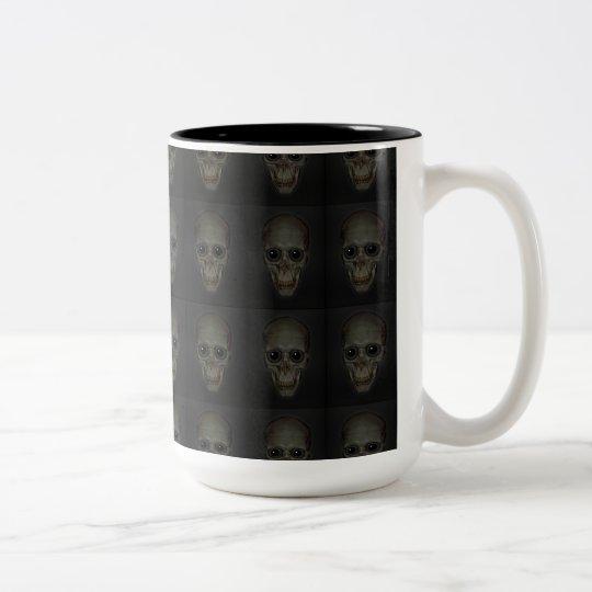 Smiling Skulls with eyes pattern Two-Tone Coffee Mug