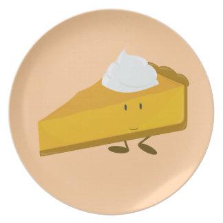 Smiling slice of pumpkin pie melamine plate
