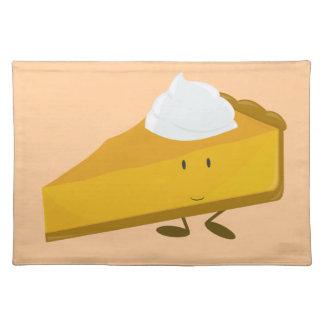 Smiling slice of pumpkin pie placemat