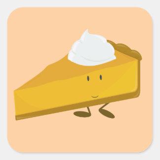 Smiling slice of pumpkin pie square sticker