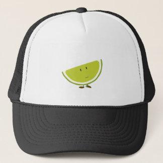 Smiling sliced lime character trucker hat