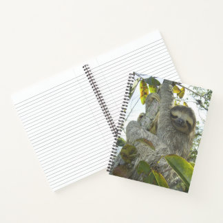 """Smiling Sloth 8.5"""" x 11"""" Spiral Notebook"""