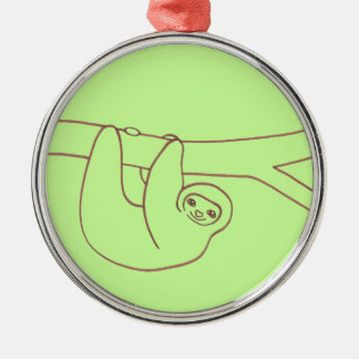 Smiling Sloth Hanging from a Tree Metal Ornament