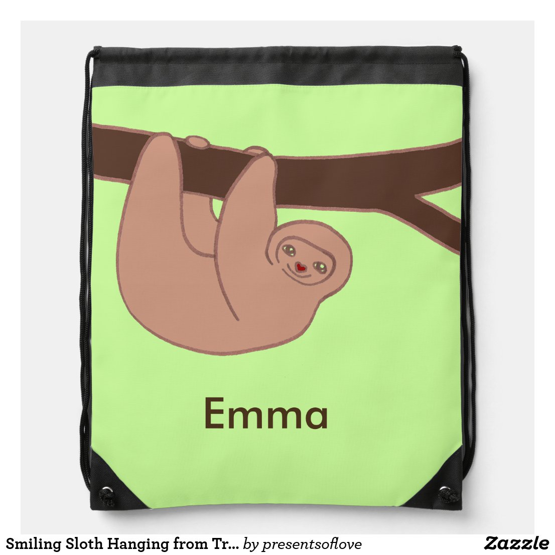 Smiling Sloth Hanging from Tree with Name Drawstring Bag