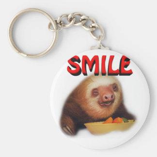 smiling slothie basic round button keychain