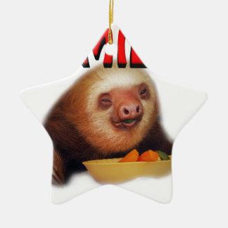 smiling slothie ceramic ornament