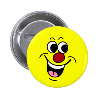 Smiling Smiley Face Grumpey Pinback Buttons