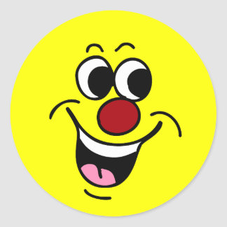 Smiling Smiley Face Grumpey Classic Round Sticker