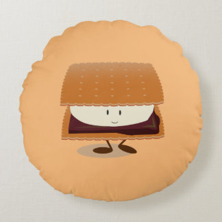 Smiling S'more   Round Pillow