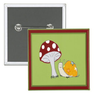 Smiling Snail by a Toadstool Button
