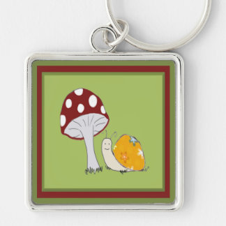 Smiling Snail by a Toadstool Keychain