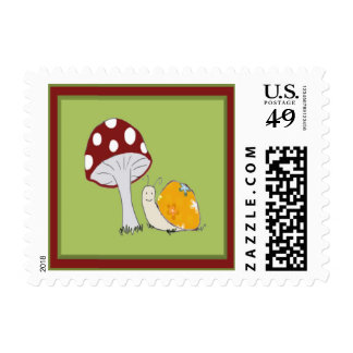 Smiling Snail by a Toadstool Postage Stamp