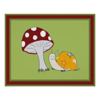 Smiling Snail by a Toadstool Poster Print