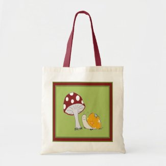 Smiling Snail by a Toadstool Tote Bag zazzle_bag