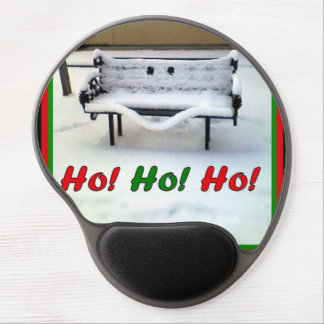 Smiling Snow-Covered Bench Gel Mousepad