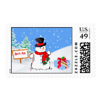 Smiling Snowman and Christmas Present Stamp
