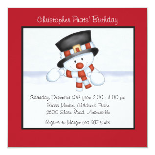 Smiling Snowman - Birthday Party Invitation at Zazzle