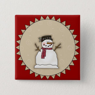 Smiling Snowman Button