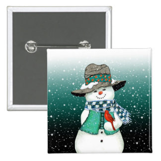 Smiling Snowman, Cardinal in a Snowstorm Button