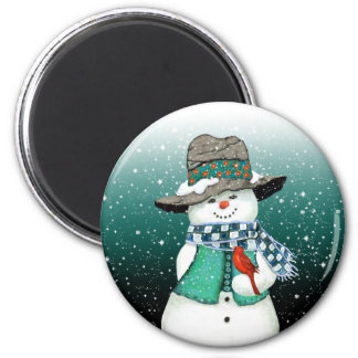 Smiling Snowman, Cardinal in a Snowstorm Magnet