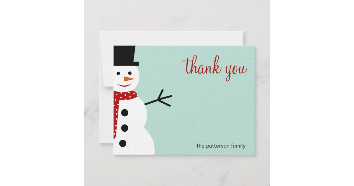 Green Cute Snowman Personalized Christmas//New Year//Holiday Thank You Cards