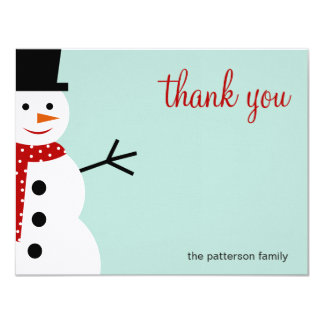 Smiling Snowman Christmas/Holiday Thank You Cards Personalized Invites