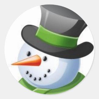 Smiling Snowman Classic Round Sticker