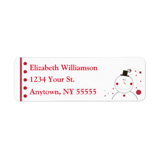 Smiling Snowman Custom Name and Address Labels