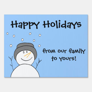 Smiling Snowman Happy Holidays Greeting for Yard Yard Sign