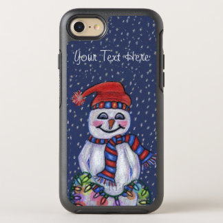 Smiling Snowman Hat Scarf Glowing Lights OtterBox Symmetry iPhone 7 Case