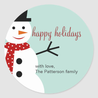 Smiling Snowman Holiday Favor Stickers