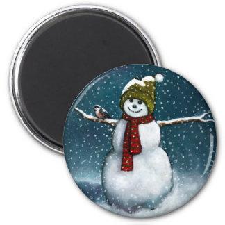 Smiling Snowman in Snow: Chickadee: Pastel Art Magnet